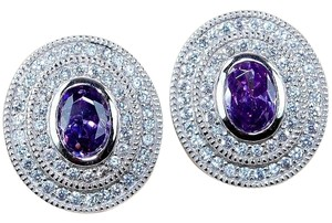 Jared 6CT Amethyst & White Topaz 925 Solid Genuine Sterling Silver Earrings