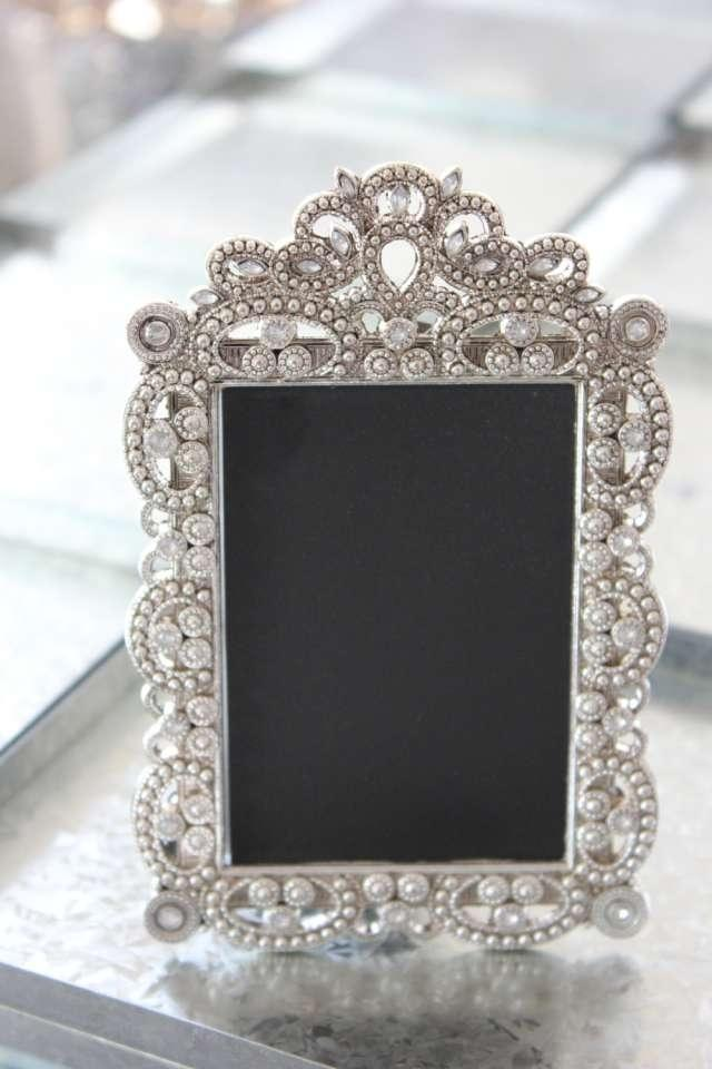 frames gatsby bling silver diamond chalkboard table number frame