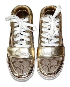 Coach Sneakers Sequin Hightop Brown/Gold Athletic