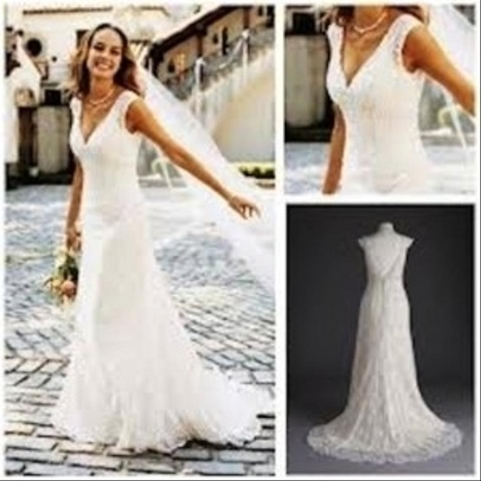 David\'s Bridal Ivory Lace All Over Beaded Trumpet Gown Style T9612 ...