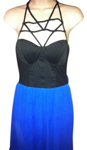 short dress Blue Cage Straps Cut-out on Tradesy