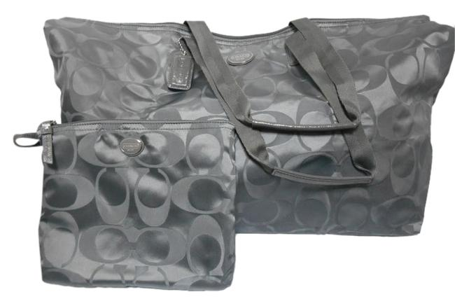 """Item - F77316 """"Rare"""" Signature Extra Large Packable 2 Piece Set Steel Grey Nylon Weekend/Travel Bag"""