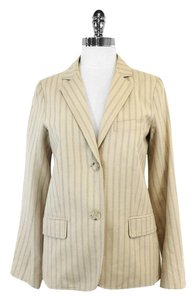 Marc by Marc Jacobs Beige Blue Striped Cotton Blazer
