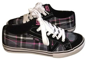 Vans Black with pink/gray/white plaid Athletic