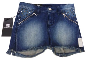 Rock & Republic Distressed Denim & Frayed Studs Punk Spike Hipster Mini/Short Shorts Navy