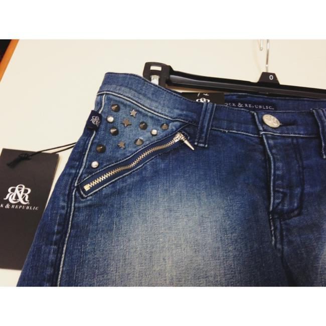 Rock & Republic Distressed Denim Frayed Studs Punk Spike Hipster Mini/Short Shorts Navy