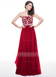 Burgundey A-line/princess Sweetheart Floor-length Chiffon Lace Prom Dress With Lace Cascading Ruffles Dress