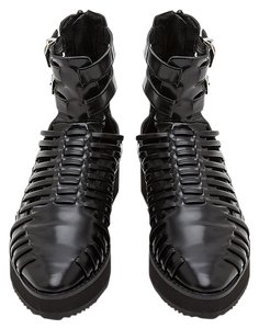 Messeca New York Rocker Leather Gladiator Black Boots