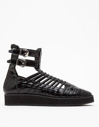 Messeca New York Rocker Leather Gladiator Strappy Eclectic Black Boots