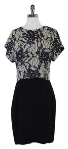 Bensoni short dress Black Lace Floral Print Silk on Tradesy