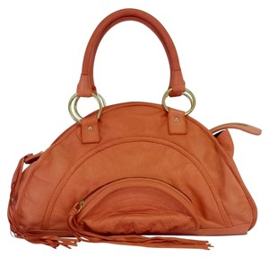Le'Bulga Orange Crescent Shaped Leather Leather Hobo Bag