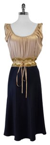 Miguelina Tan Navy Empire Waist Dress