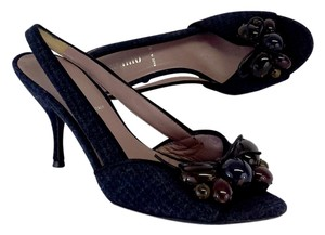 Miu Miu Black Blue Wool Slingbacks Sandals