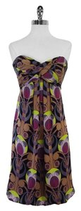 Nicole Miller short dress Multi Color Print Strapless on Tradesy
