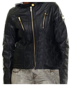 Coogi FAUX LEATHER BLACK DETACHABLE HOODIE Leather Jacket