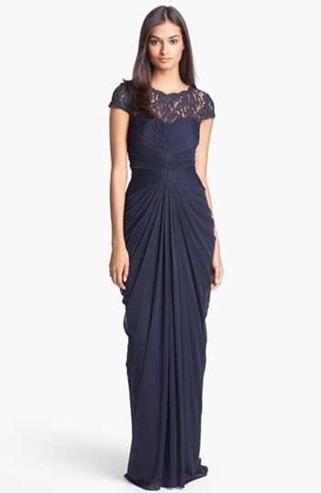 Adrianna Papell Ink/Navy Draped Illusion Lace-neckline Gown Formal ...