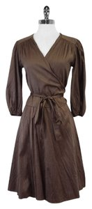 Calypso Brown Silk Wrap Wrap Dress
