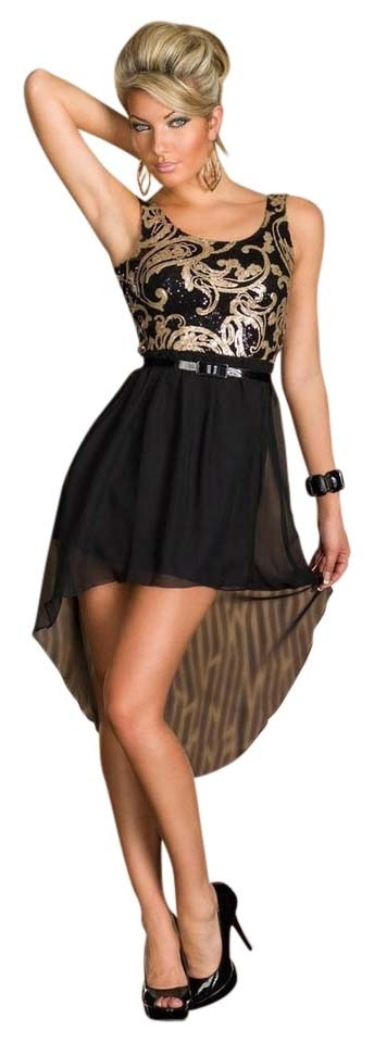 Hot Miami Styles Black And Gold Chiffon High Low Night Out Dress