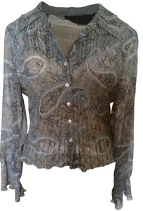 Gloria Vanderbilt Flared Sleeves Flared Sheer Top Gray Paisley