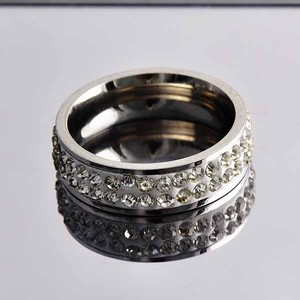 Stainless Steel Pave Crystal Ring Free Shipping