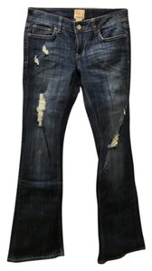 Arden B. Low Rise Bootcut Distressed Flare Leg Jeans-Distressed