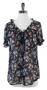 Joie Navy Floral Print Silk Top