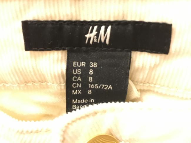 H&M Corduroy Stretchy Skinny Pants Cream Image 3