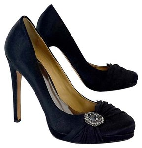 Badgley Mischka Black Satin Jewel Heels Pumps