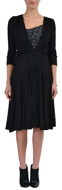 Preload https://img-static.tradesy.com/item/10833328/just-cavalli-black-34-sleeves-women-s-sheath-s-it-40-mid-length-short-casual-dress-size-4-s-0-1-650-650.jpg