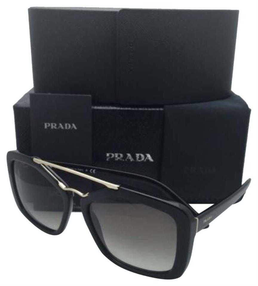 e8574223f Prada New PRADA Sunglasses SPR 24R 1AB-0A7 56-17 Black & Gold Frames ...