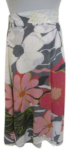 Tibi Floral Print Silk Skirt Multi-color