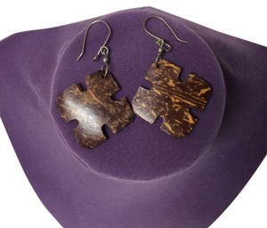 Handmade in Africa Handmade in Africa wooden puzzle pieces earrings