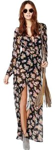 Maxi Dress by OASAP Black Black Long Floral Long Sleeve