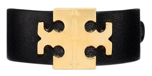 Tory Burch Tory Burch Leather Cuff Bracelet Wide T-Hinge Gold TB Logo Black