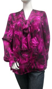 Anne Klein Ruffled Top Violet Print