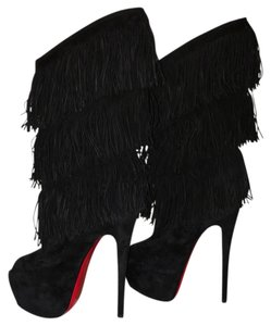 Christian Louboutin Black Fringe Limited Edition Black suede Boots
