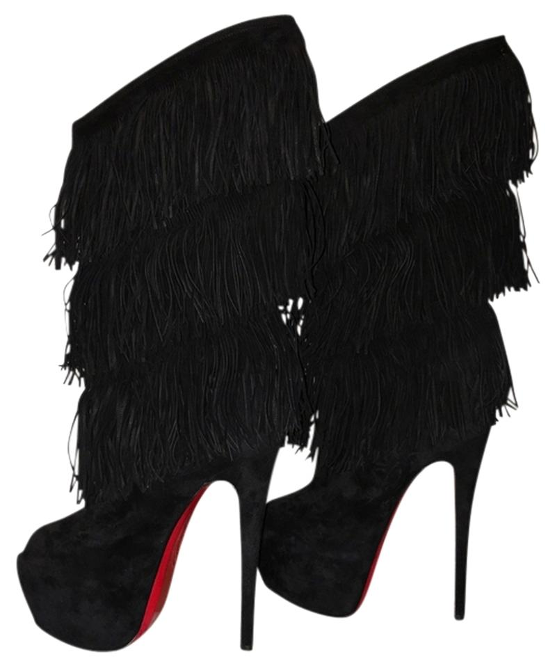 Christian Louboutin Black Suede 20th Anniversary 160mm Highness Tina 160mm Anniversary Fringed Boots/Booties 9c79e0