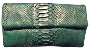 Hunting Season Python Skin Green Magnet Closure Emerald Clutch