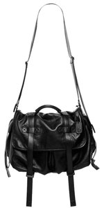 Natalia Brilli Leather Lambskin Messenger Crossbody Strap Black Messenger Bag