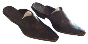 Unknown...European Embossed Leather Brown Mules