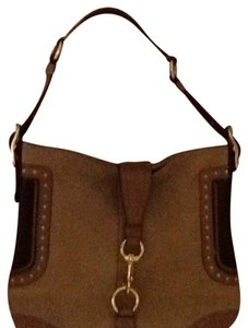 Coach Leather Backskin Nubuck Rare Design Gold Hardware Satchel in Brown