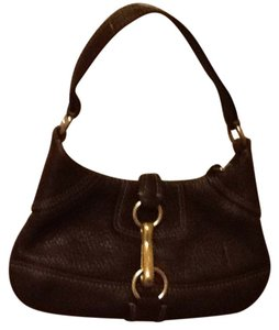 Coach Dark Strap Gold Hardware Zipped Closure Leather Satchel in chocolate brown