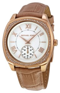 Michael Kors Rose Gold Brown Leather Strap Crystal Embellished Ladies Watch