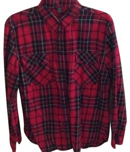 Lauren Jeans Company Button Down Shirt Black and red