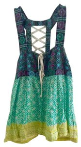 Free People Embroidered Flowy Top blue, green, multi