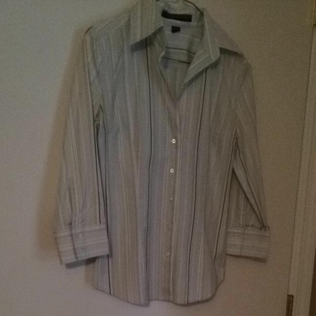 Express Button Down Shirt Blue With Stripes In Yellow . Brown And White