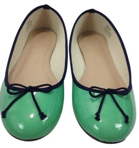 J.Crew Patent Chrome Green Flats