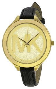 Michael Kors Gold Crush Pave Logo Black Leather Strap Designer Watch
