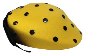 Mr John Mr John Paris New York Vintage Yellow Wool with Black Buttons hat