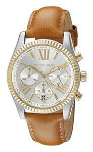 Michael Kors Brown Leather Strap Silver & Goldtone Ladies Designer Watch